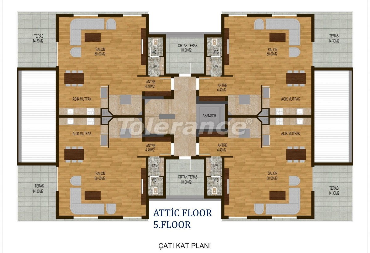 Tree bedroom apartments in Hurma, Konyaalti in a complex with a swimming pool - 10507 | Tolerance Homes