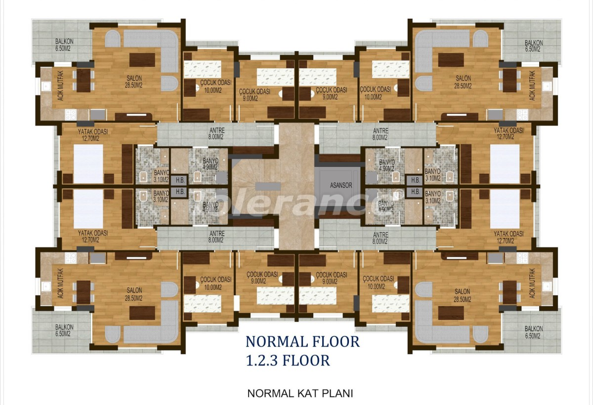 Tree bedroom apartments in Hurma, Konyaalti in a complex with a swimming pool - 10506 | Tolerance Homes