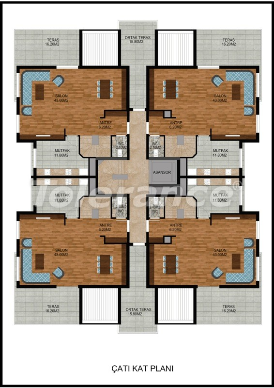 Modern two-bedroom apartment in Hurma, Konyaalti in complex with swimming pool - 10676   Tolerance Homes