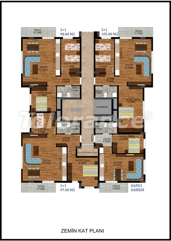 Modern two-bedroom apartment in Hurma, Konyaalti in complex with swimming pool - 10673   Tolerance Homes
