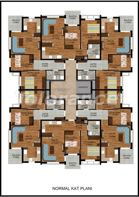 Modern two-bedroom apartment in Hurma, Konyaalti in complex with swimming pool - 10674   Tolerance Homes