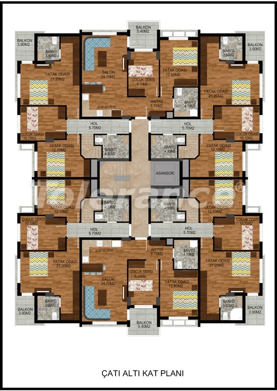Modern two-bedroom apartment in Hurma, Konyaalti in complex with swimming pool - 10675   Tolerance Homes