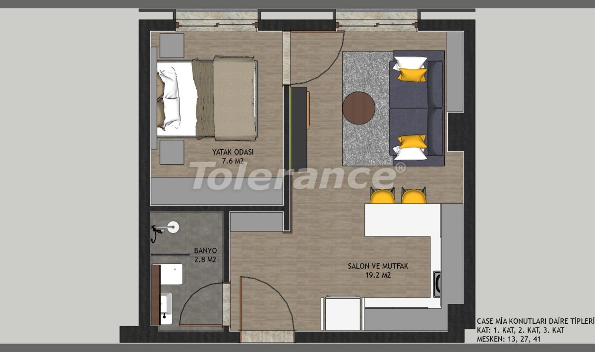 Affordable apartments in Kepez, Antalya in the complex with a swimming pool - 11647 | Tolerance Homes