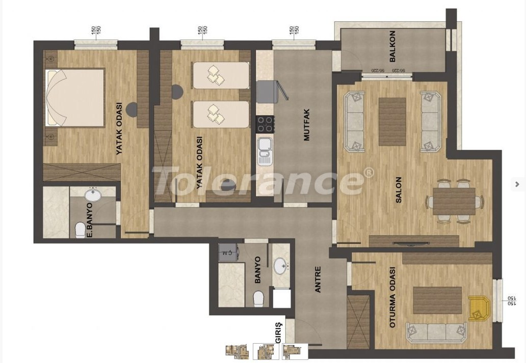 Luxury apartments in Uncali, Konyaalti with swimming pool - 13657   Tolerance Homes