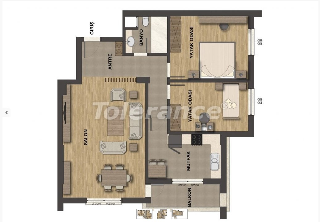 Luxury apartments in Uncali, Konyaalti with swimming pool - 13656   Tolerance Homes