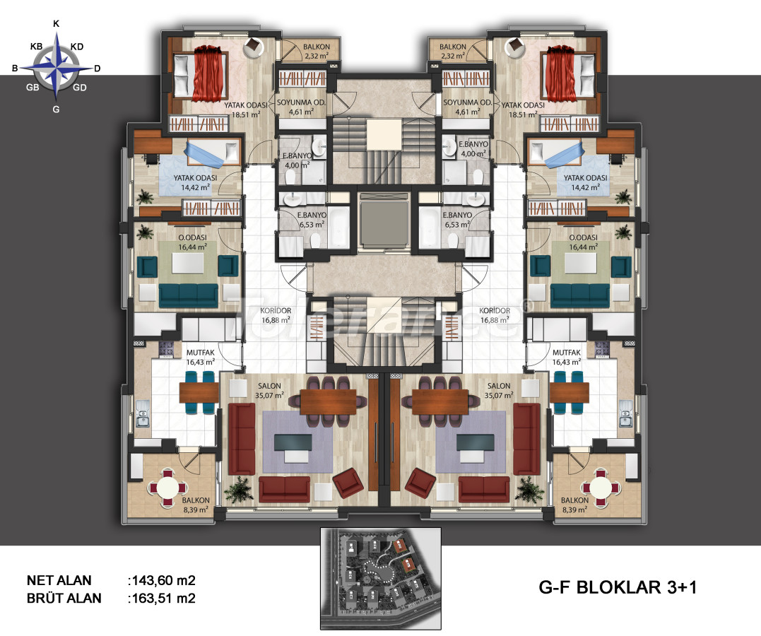 Spacious apartments in Kepez, Antalya in the modern complex with swimming pool - 14010   Tolerance Homes