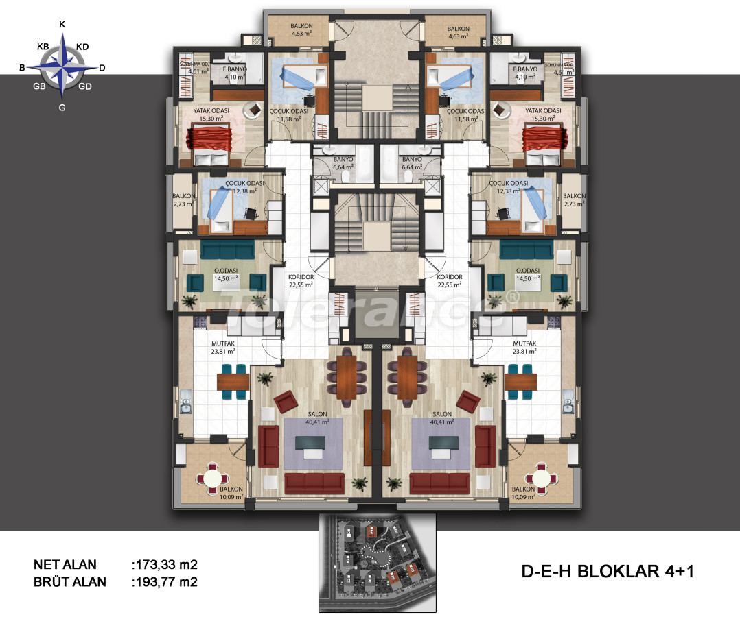 Spacious apartments in Kepez, Antalya in the modern complex with swimming pool - 14011   Tolerance Homes
