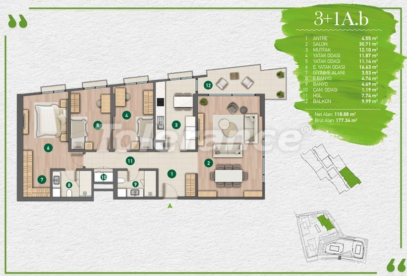 Apartments in Istanbul in a complex with a developed infrastructure - 14356 | Tolerance Homes