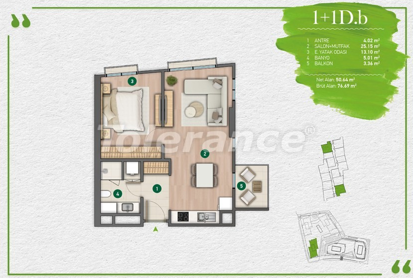 Apartments in Istanbul in a complex with a developed infrastructure - 14348 | Tolerance Homes