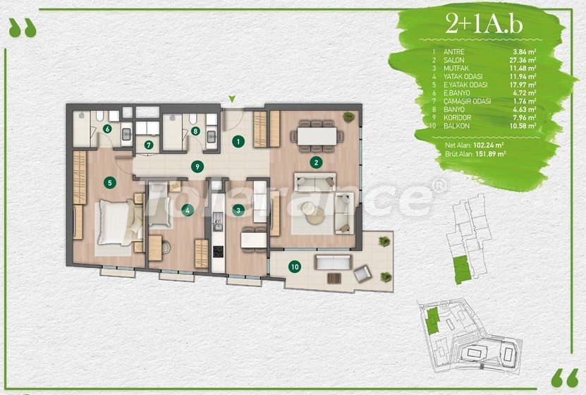 Apartments in Istanbul in a complex with a developed infrastructure - 14349 | Tolerance Homes