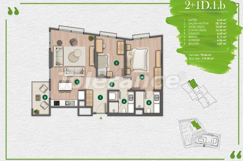 Apartments in Istanbul in a complex with a developed infrastructure - 14352 | Tolerance Homes