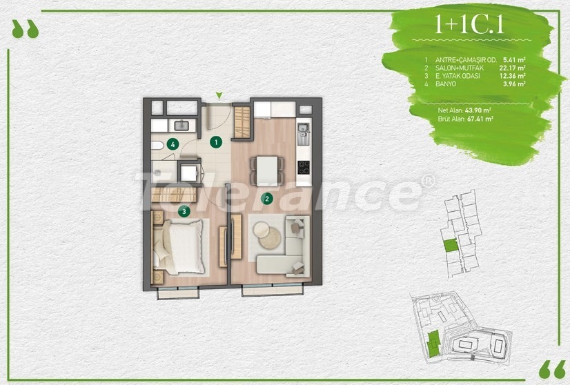 Apartments in Istanbul in a complex with a developed infrastructure - 14344 | Tolerance Homes