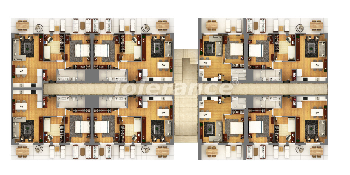 """Apartments in a luxurious complex in Kundu, Antalya near the sea, with a """"smart house"""" system and a swimming pool - 14891 