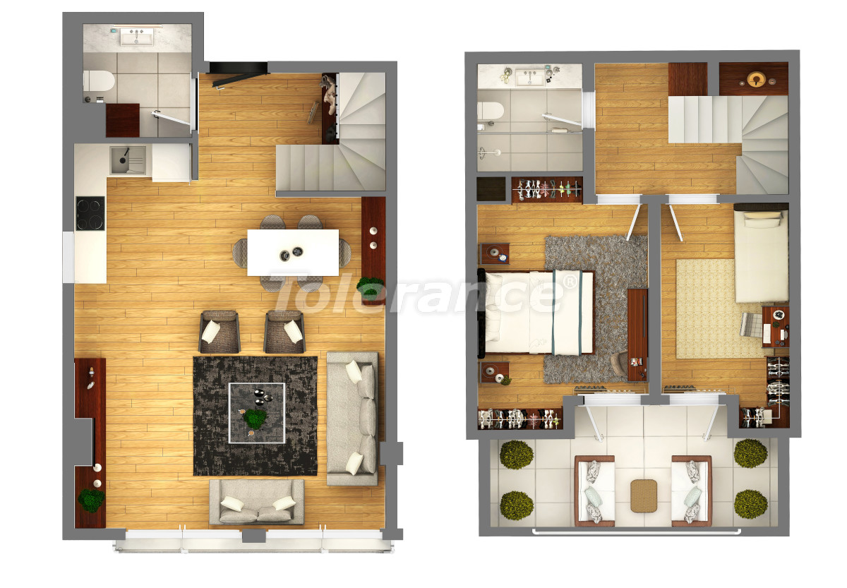 """Apartments in a luxurious complex in Kundu, Antalya near the sea, with a """"smart house"""" system and a swimming pool - 14890 