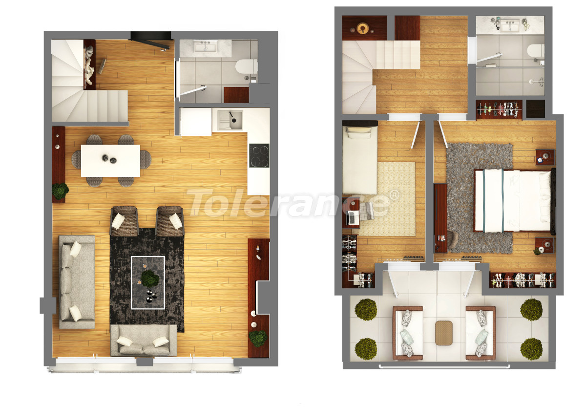 """Apartments in a luxurious complex in Kundu, Antalya near the sea, with a """"smart house"""" system and a swimming pool - 14894 