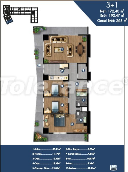 Modern apartments in Izmir, profitable for investment,  in a hotel-type complex - 15151 | Tolerance Homes