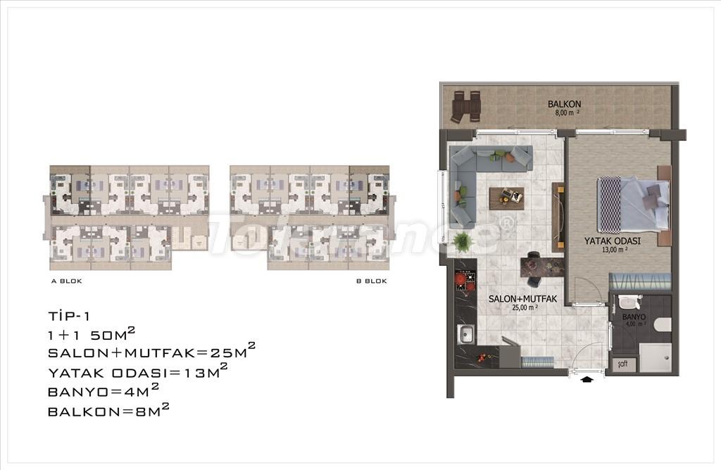 Apartments in Mahmutlar, Alanya with pool and installments - 15853 | Tolerance Homes