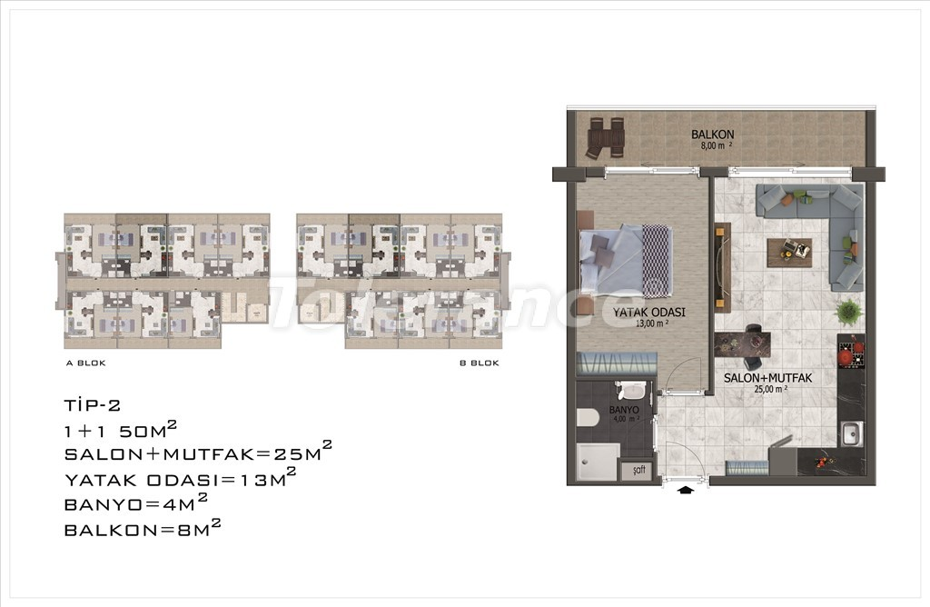 Apartments in Mahmutlar, Alanya with pool and installments - 15847 | Tolerance Homes
