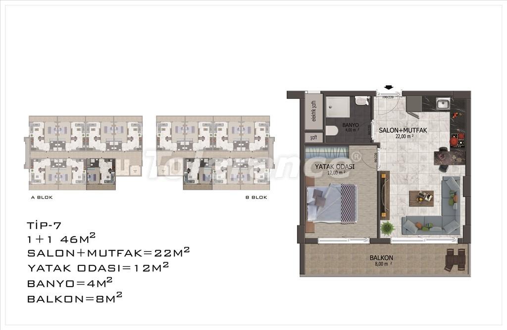 Apartments in Mahmutlar, Alanya with pool and installments - 15852 | Tolerance Homes