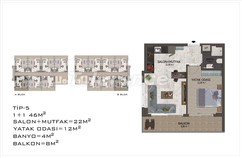 Apartments in Mahmutlar, Alanya with pool and installments - 15850 | Tolerance Homes