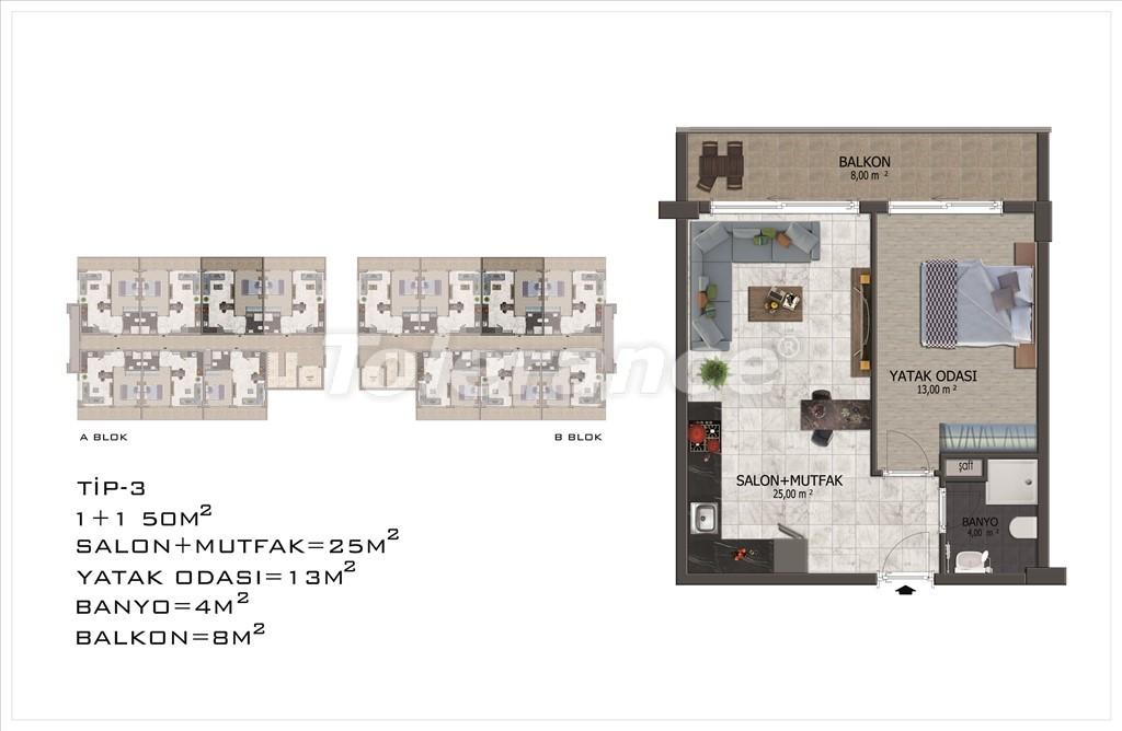 Apartments in Mahmutlar, Alanya with pool and installments - 15848 | Tolerance Homes