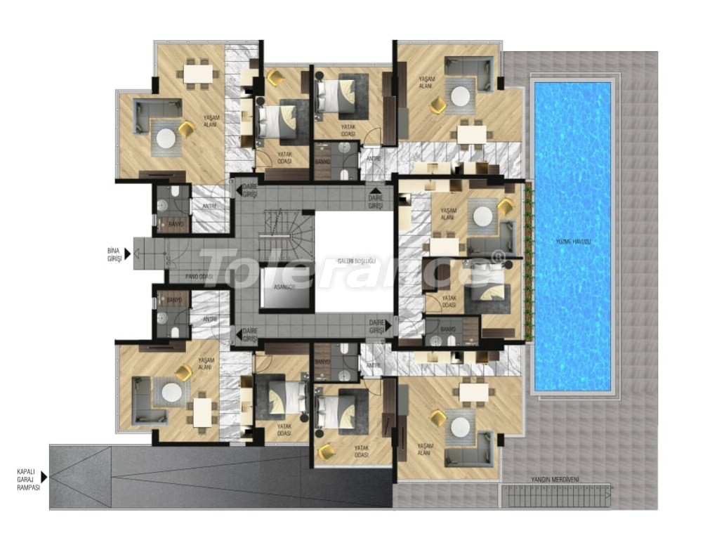 Luxury apartments in Lara, Antalya for investment with gas heating - 15644   Tolerance Homes