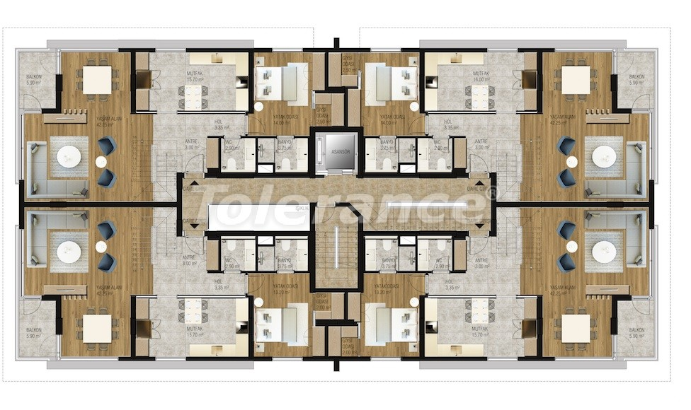 Modern  apartments in Uncali, Konyaalti with a swimming pool from the reliable developer with installments - 16206 | Tolerance Homes