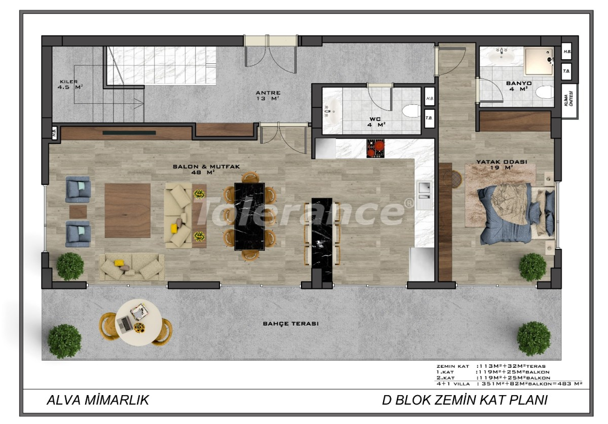 Modern villas in the centre of Alanya with the possibility of obtaining citizenship - 18016   Tolerance Homes