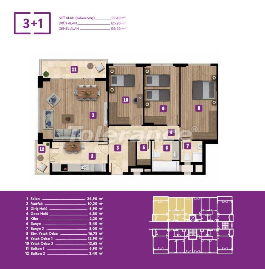 New inexpensive apartments in Izmir with central gas heating in installments - 18059 | Tolerance Homes