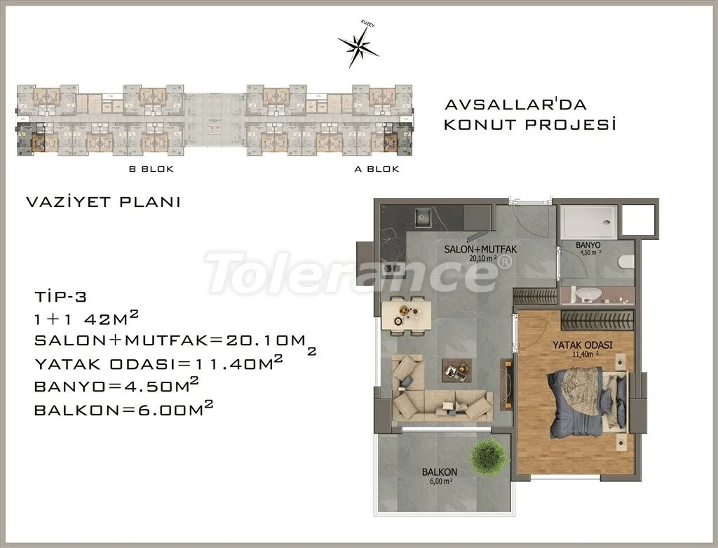 Modern apartments in  Avsallar - 22078 | Tolerance Homes