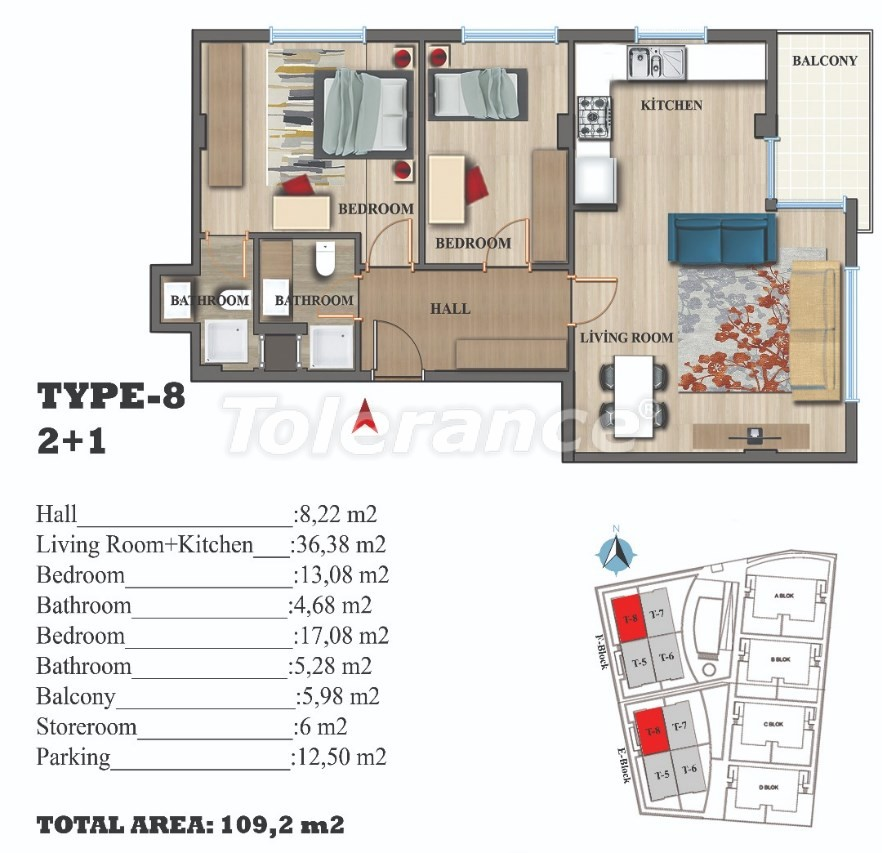 Stylish apartments in Lara, Antalya in a modern complex with an outdoor pool - 22694 | Tolerance Homes