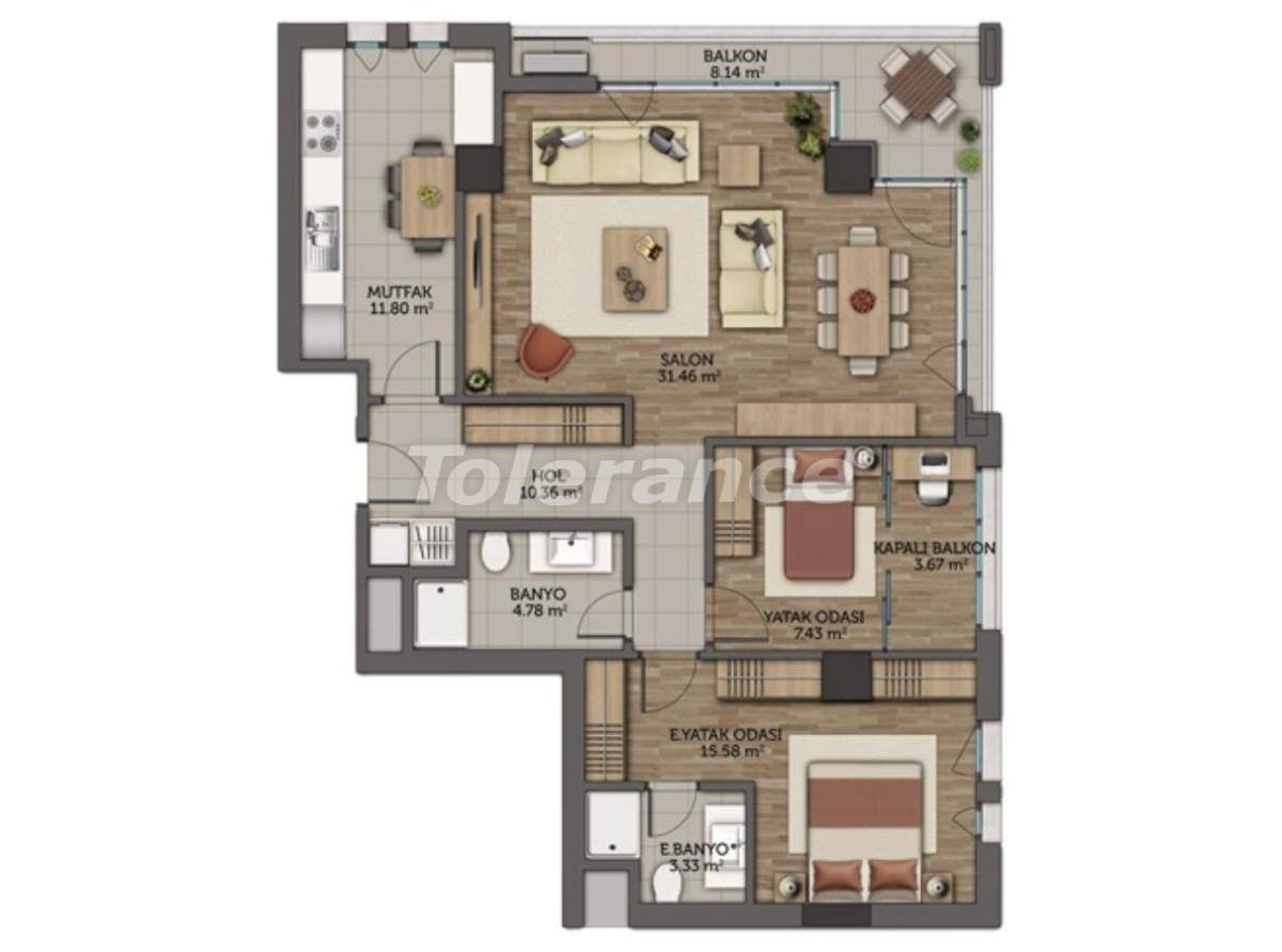 Modern apartments in Istanbul with 3 years rental guarantee from the best developer - 23131   Tolerance Homes