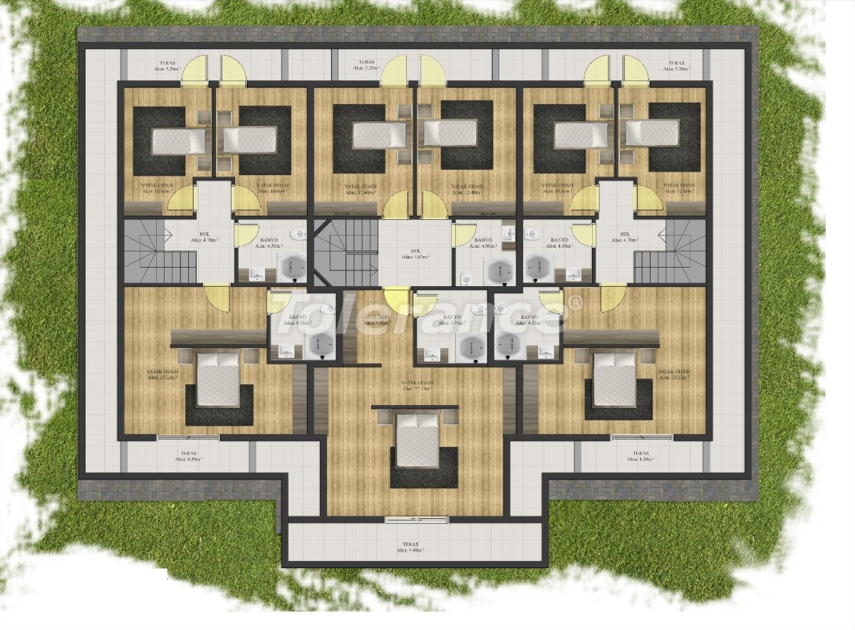 Modern apartments in Arslanbucak, Kemer in a complex with a swimming pool - 24091 | Tolerance Homes