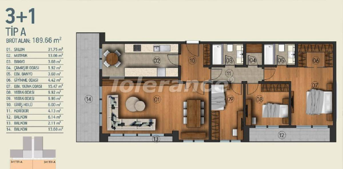 Modern apartments in Istanbul with a view of the Belgrade Forest in a complex with an indoor pool - 26957   Tolerance Homes
