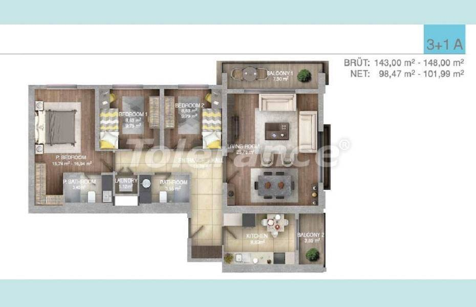 Spacious apartments in Istanbul in a complex with an indoor pool - 27100 | Tolerance Homes