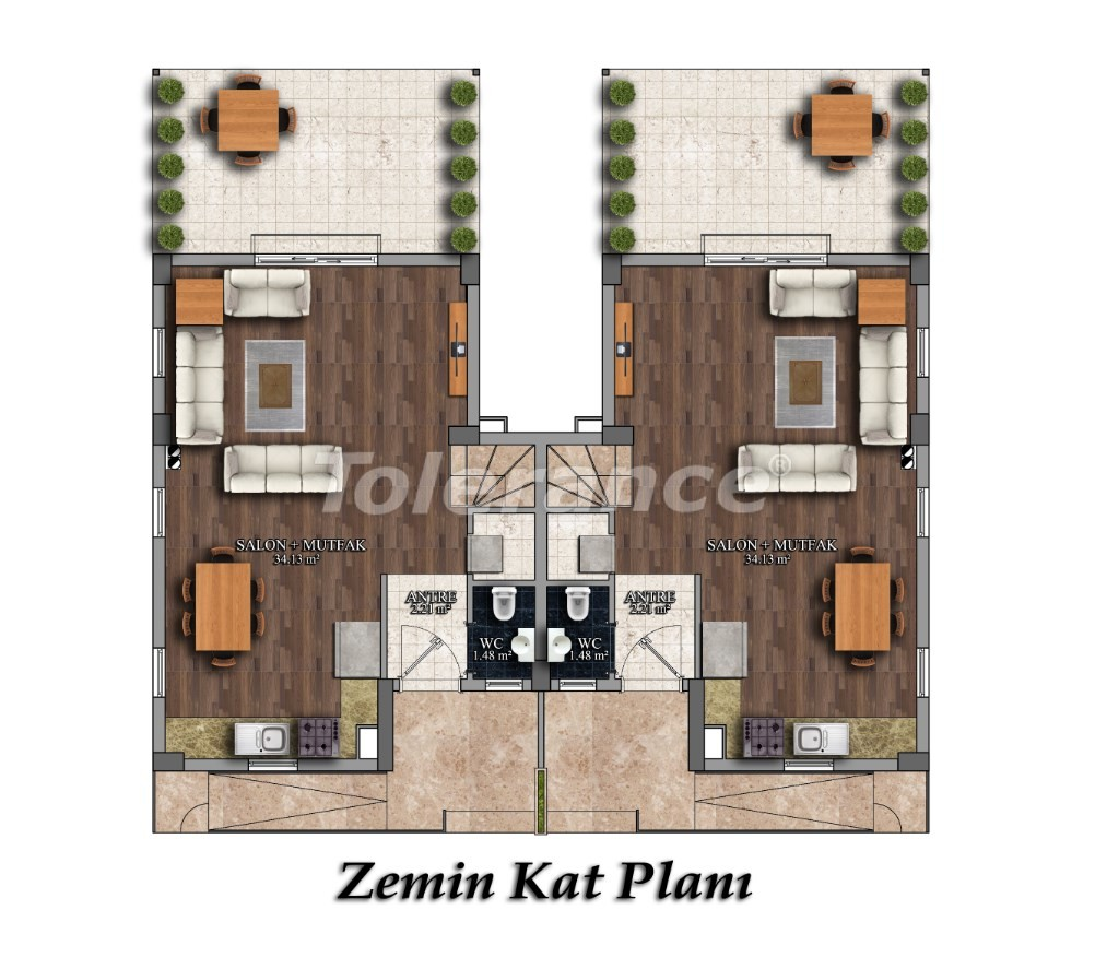 Two-bedroom apartments in Arslanbucak, Kemer in a complex with a swimming pool - 26853 | Tolerance Homes