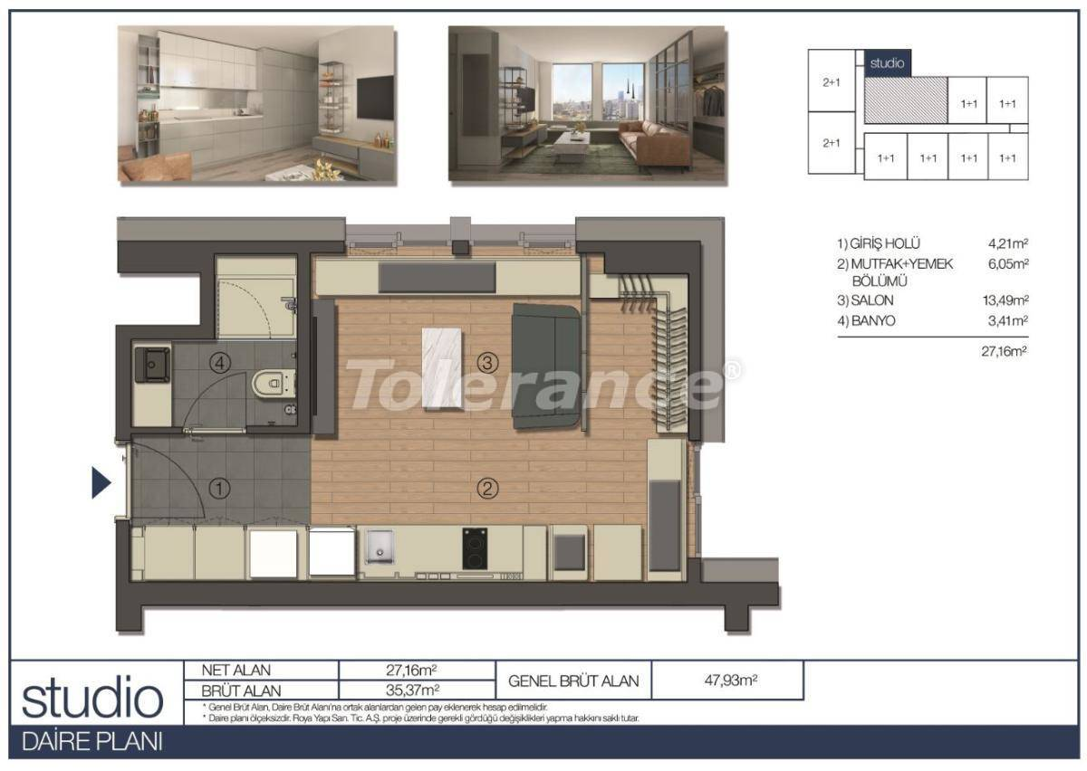 Apartments in Umraniye, Istanbul in a hotel type complex near the Istanbul Financial Center - 31542 | Tolerance Homes