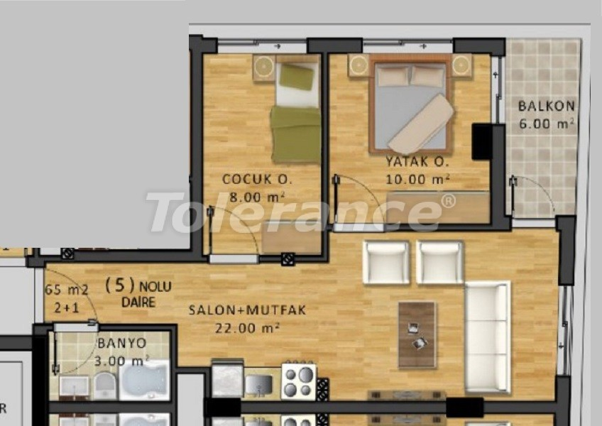Inexpensive two-bedroom apartment in the center of Antalya - 34075 | Tolerance Homes