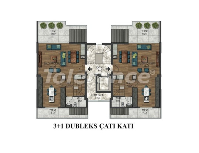 Three-bedroom apartment in Hurma, Konyaalti in a complex with indoor and outdoor pools - 34153 | Tolerance Homes