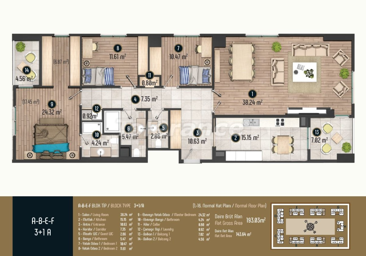 Luxury apartments in Istanbul in a modern complex, profitable for investment - 34584 | Tolerance Homes