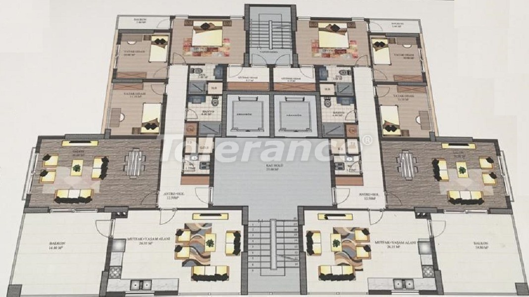 Apartments in Yenisehir, Mersin in a complex near the university and the hospital - 35838 | Tolerance Homes