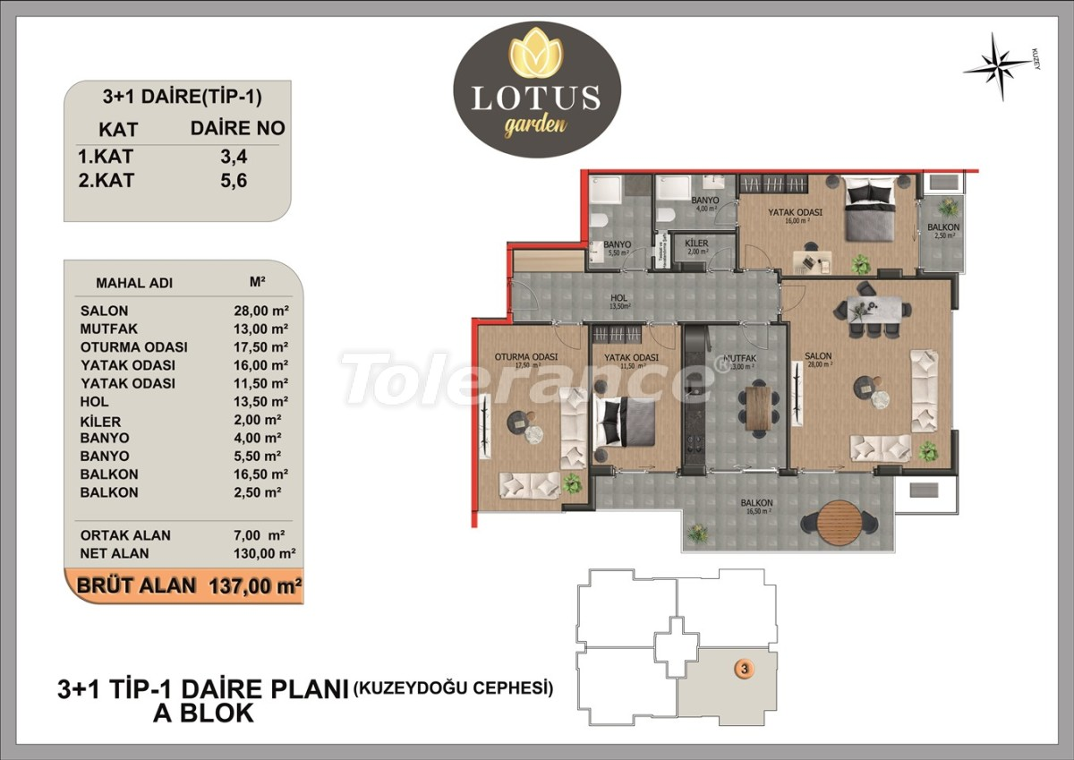 New apartments in OBA, Alanya from the developer - 40007   Tolerance Homes