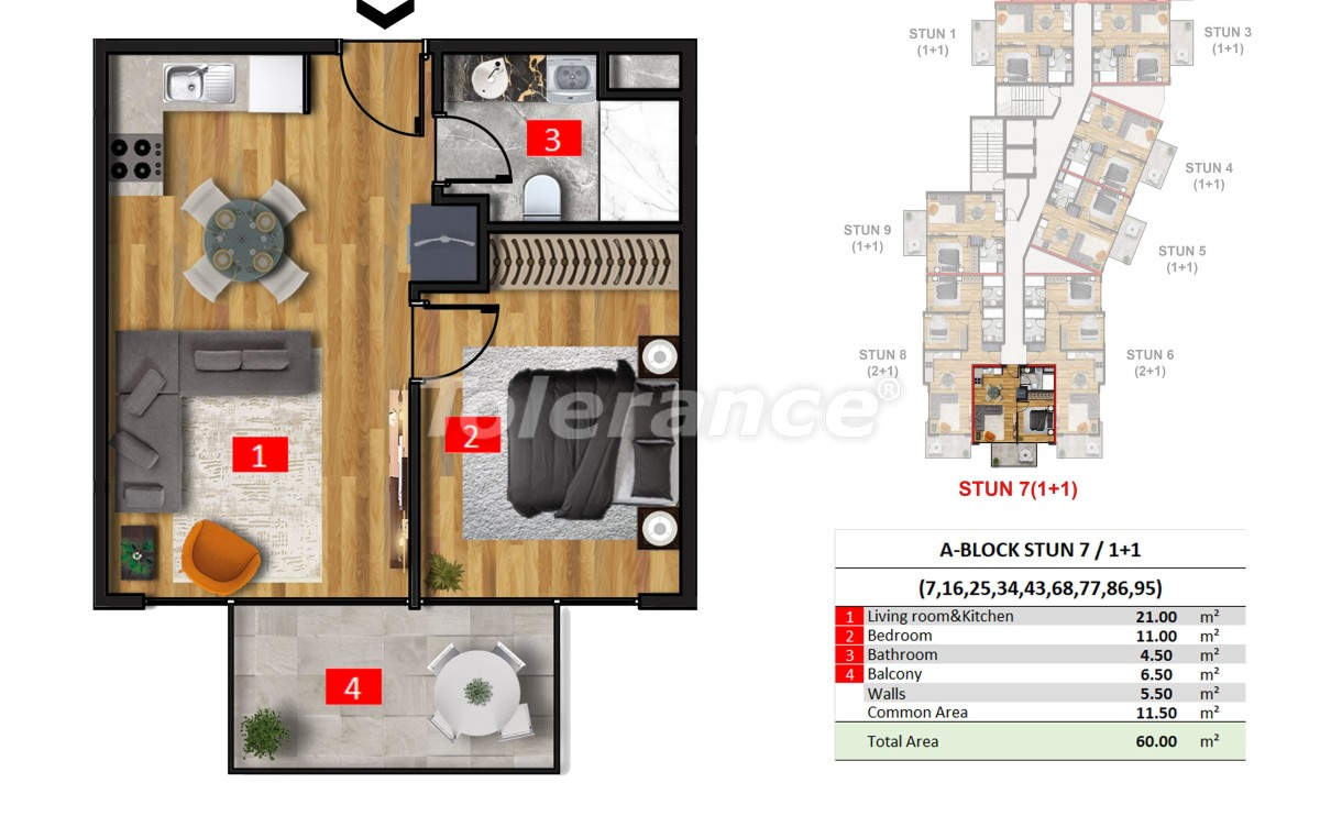 Exclusive apartments in Mahmutlar, Alanya from a reliable developer in a hotel-type complex, 50 m to the sea - 40869 | Tolerance Homes