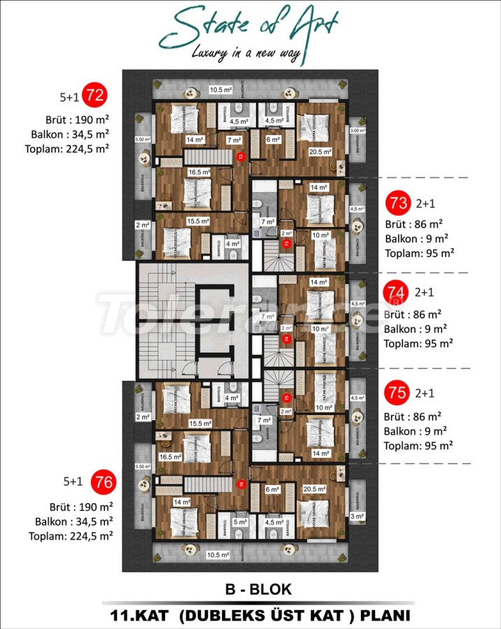 Modern apartments in Kargicak, Alanya by installments from the developer in a hotel-type complex - 41177 | Tolerance Homes