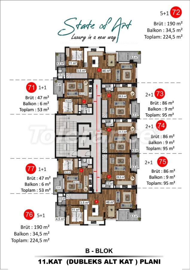 Modern apartments in Kargicak, Alanya by installments from the developer in a hotel-type complex - 41175 | Tolerance Homes