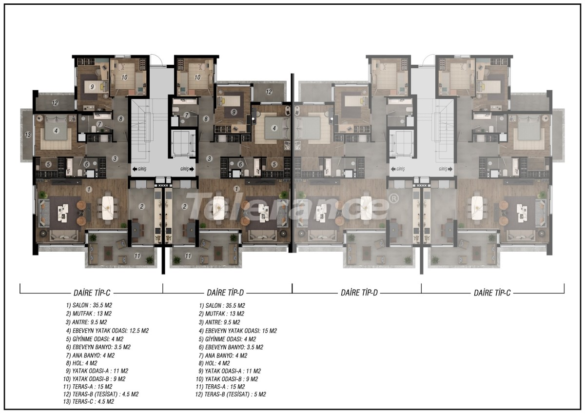 Luxurious spacious apartments in Uncali, Konyaalti by installments from the developer - 42246   Tolerance Homes