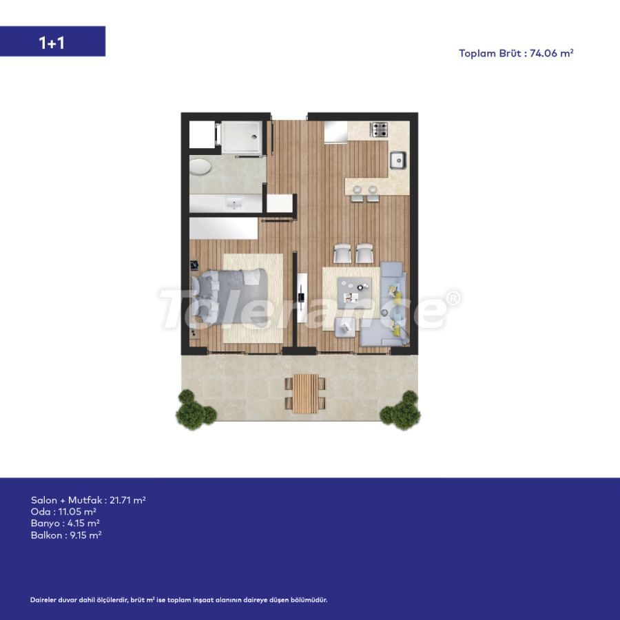 Affordable modern apartments in Izmir in a complex with hotel-type facilities - 44007   Tolerance Homes