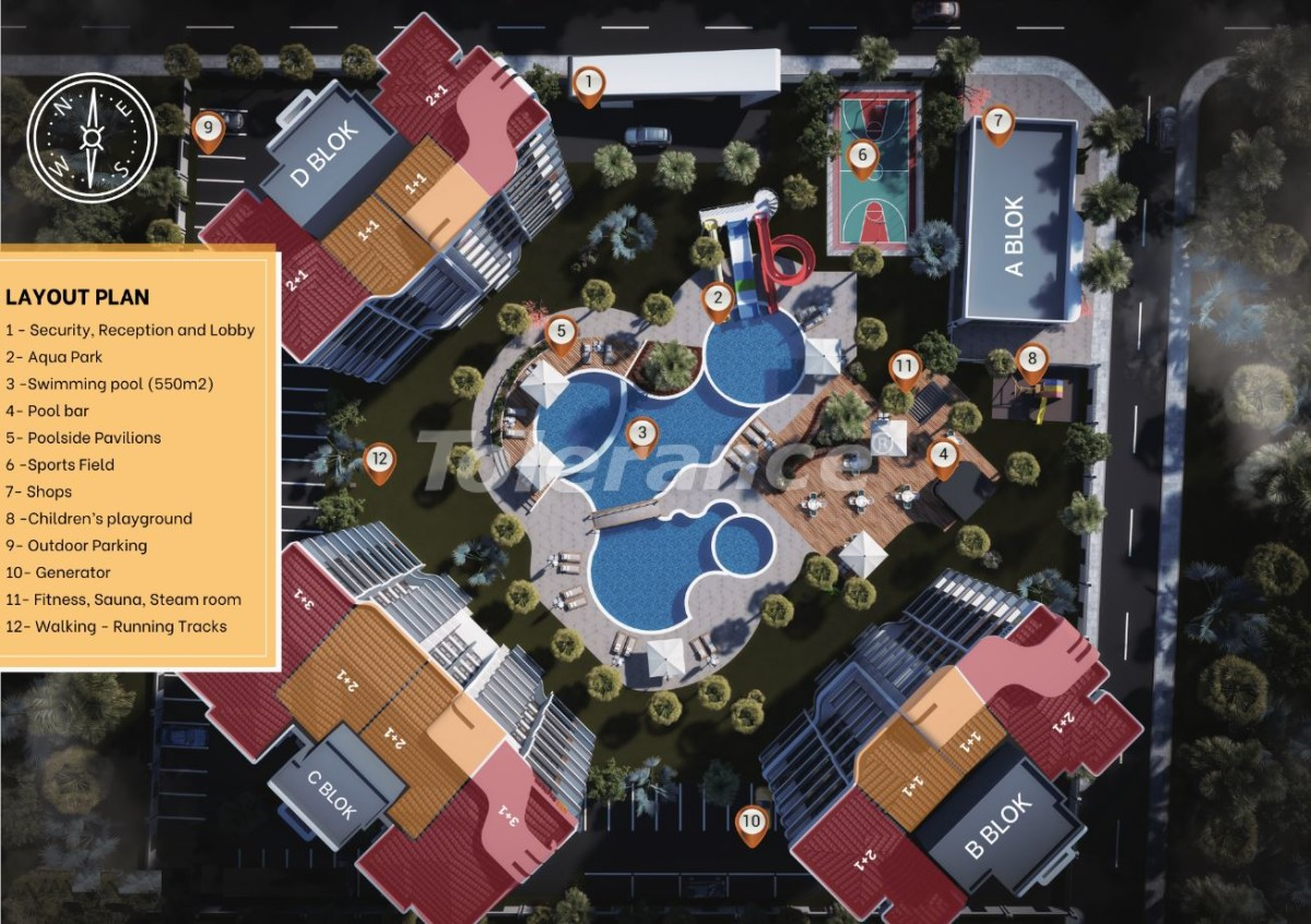 Luxury apartments in Altıntaş, Antalya in a complex with hotel facilities, with installments - 44588 | Tolerance Homes