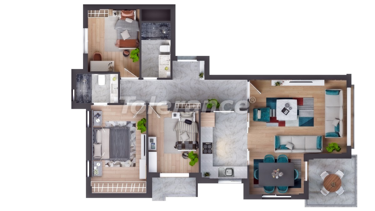 Luxury apartments in Altıntaş, Antalya in a complex with hotel facilities, with installments - 44587 | Tolerance Homes