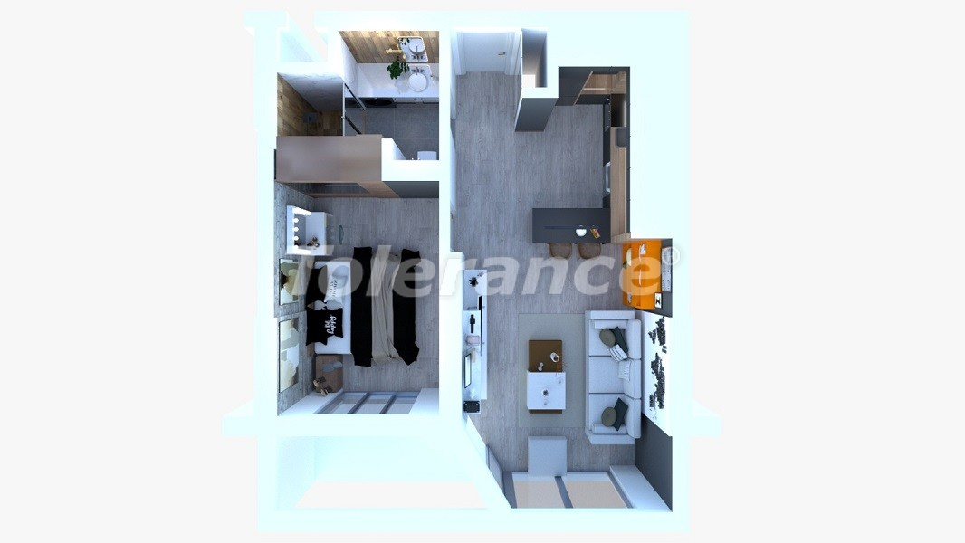 Inexpensive modern apartments in Altıntaş, Antalya in a complex with facilities in installments - 44818   Tolerance Homes